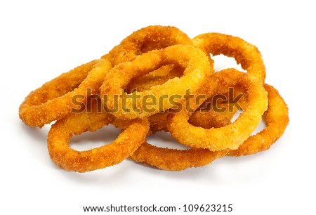 golden crispy Onion rings coated with breadcrumbs and deep fried - stock photo