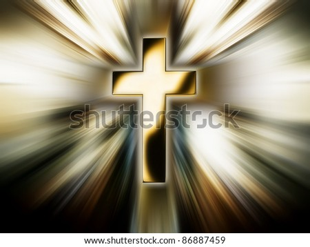 Golden cross in the bright rays - stock photo