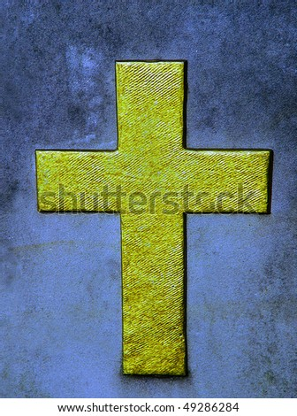 golden cross on the wall - stock photo