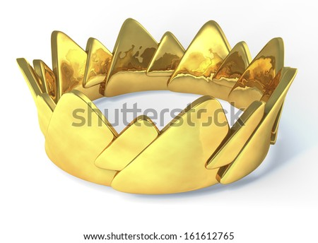Golden crown, 3d rendering isolated on white background - stock photo
