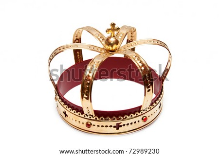 Golden crown isolated - stock photo
