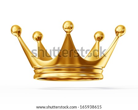 golden crown isolated on a white background - stock photo