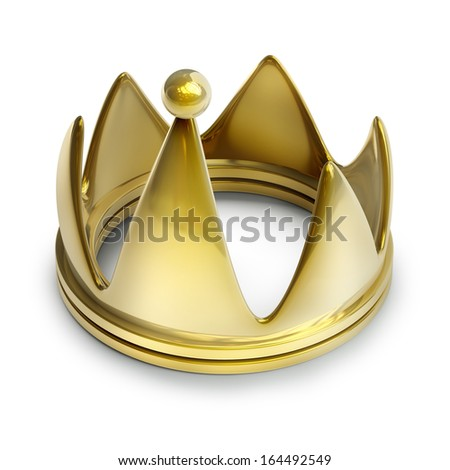 Golden crown isolated on white background High resolution 3d