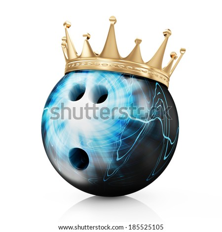 Golden Crown on Painted Bowling Ball isolated on white background. Bowling King Champion Concept - stock photo