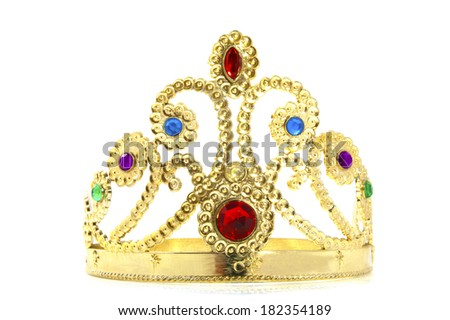 Golden crown with jewels isolated over white - stock photo