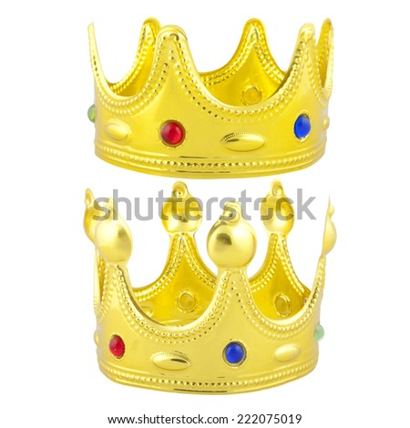 Golden crowns with colorful decoration with PS paths - stock photo