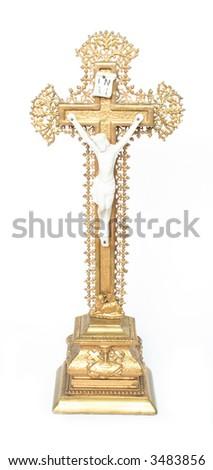 golden crucifix - stock photo