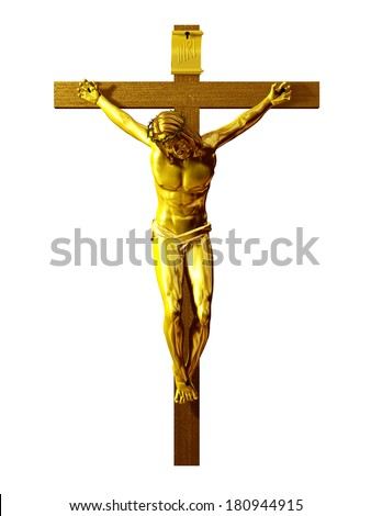 golden Crucifix, Jesus Christ on the cross  - stock photo