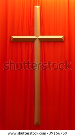 golden crucifix on a red material background - stock photo