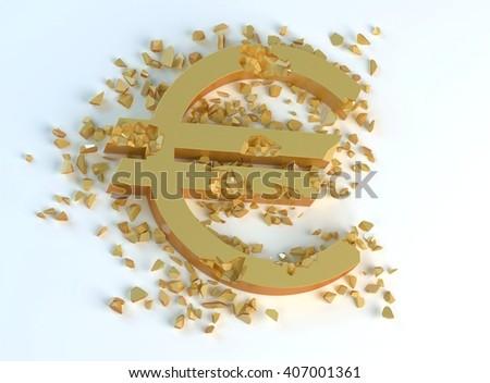 golden crushed symbol of euro  - stock photo