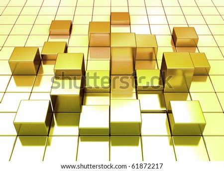 Golden cube background with light reflecting