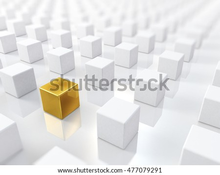 golden cube; 3D illustration