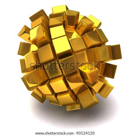 Golden cubic sphere on white background - stock photo