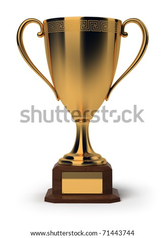 Golden cup. 3d image. Isolated white background. - stock photo