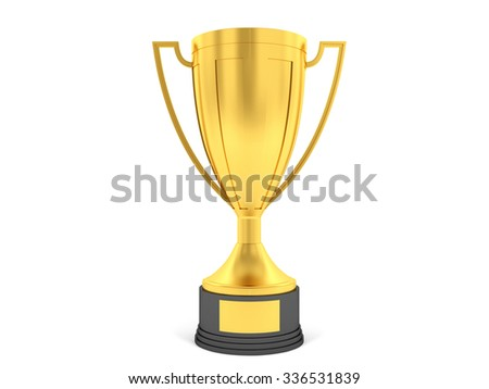 Golden cup for first place - stock photo