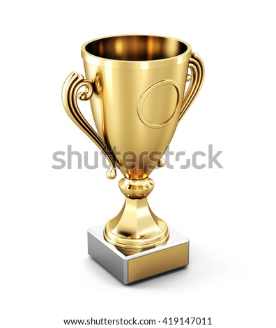 Golden Cup isolated on white background. 3d rendering.