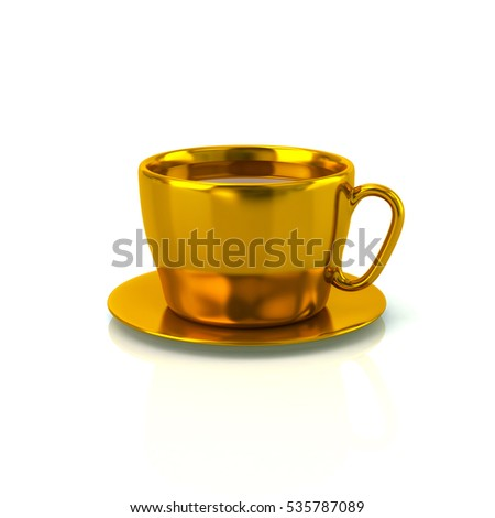 Golden cup of tasty coffee 3d rendering on white background