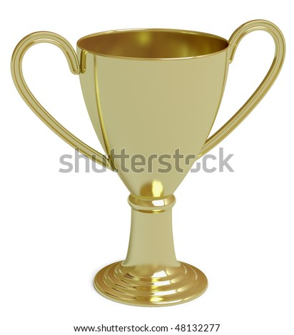 golden cup on a white surface. In my portfolio there is collection of pictures of sport themes and gold. You only enter IN a SEARCH the Photographer Name: PAVEL IGNATOV and keyword: SPORT or GOLD - stock photo