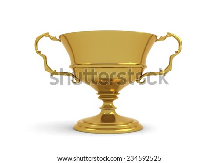Golden cup trophy - stock photo