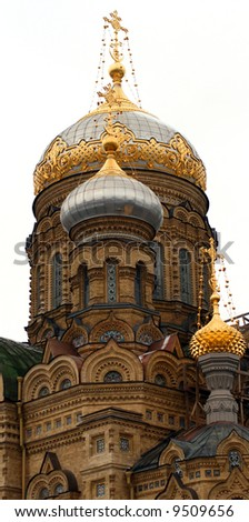 golden cupola on russian church in St. Petersburg - stock photo