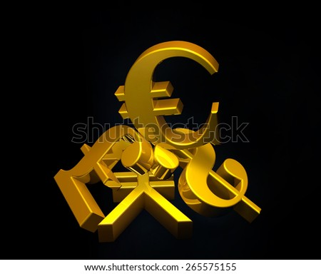 Golden currency euro symbol rising over a pile of Pound,US Dollar,Yen.Concept for financial power - stock photo