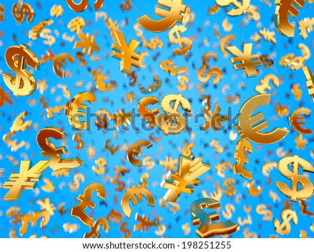 Golden currency symbols falling on the blue background. - stock photo