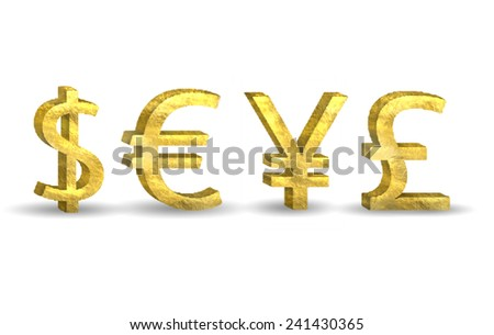 Golden currency symbols isolated on white