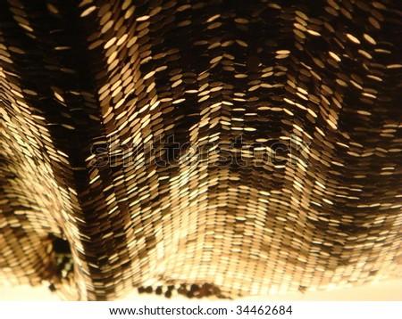 Golden Curtain beads, decor background - stock photo