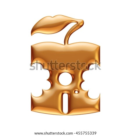 Golden cut apple in 3d rendered on isolated white background. - stock photo