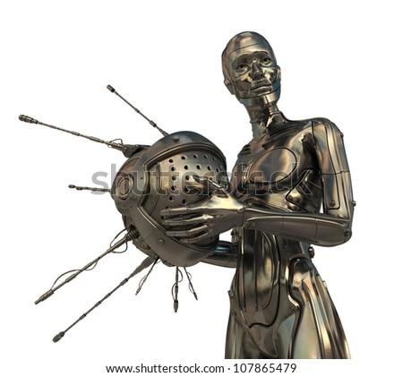 Golden Cyborg holds futuristic Satellite isolated on white - stock photo