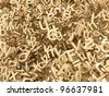 Golden 3D Block Letters and Digits on white - stock photo