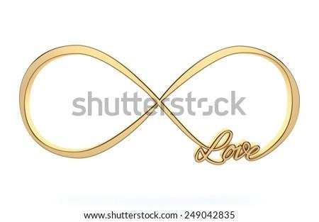 Golden 3d Infinity love, forever symbol isolated on white - stock photo