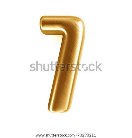 golden 3d number - 7