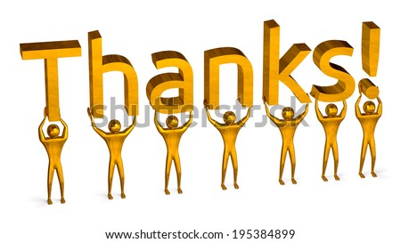 Golden 3d people holding thanks text isolated on white, perspective view