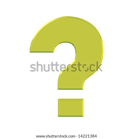 Golden 3d question mark over white background