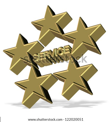 Golden 3d symbol for five star service / Five star service - stock photo