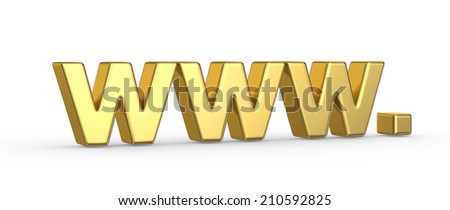 Golden 3D www symbol on white background - stock photo