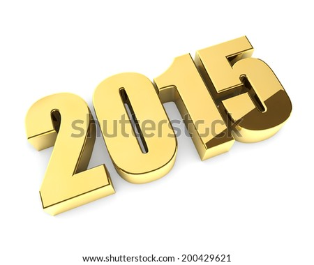 Golden 3D 2015 year figures isolated on white background. - stock photo