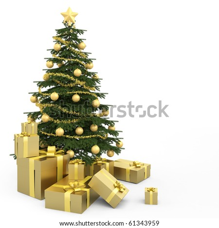 Golden decorated christmas tree wirh many presents and isolated on white