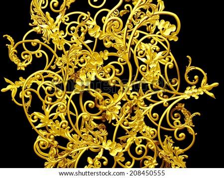 golden, decorative Ornament - stock photo