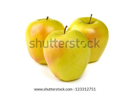Golden delicious apple, typical of Trentino Alto Adige, Italy - stock photo