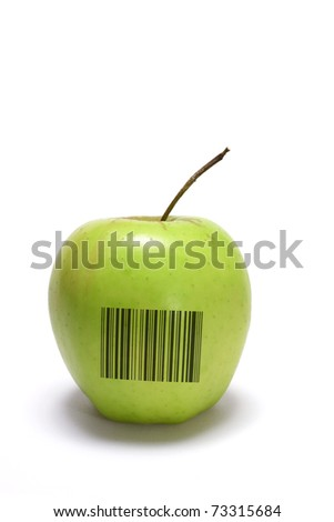Golden Delicious Apple with Bar Code on White Background - stock photo