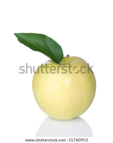 Golden Delicious Apple with leaf on white background