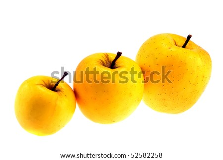 golden delicious juicy apples isolated on white - stock photo