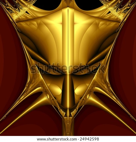 Golden demon mask on black background. Computer generated image - stock photo