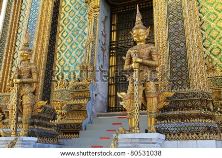 Golden demon statue temple decoration at Wat prakaew, Bangkok, Thailand.