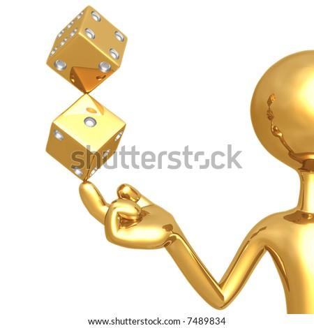 Golden Dice - stock photo