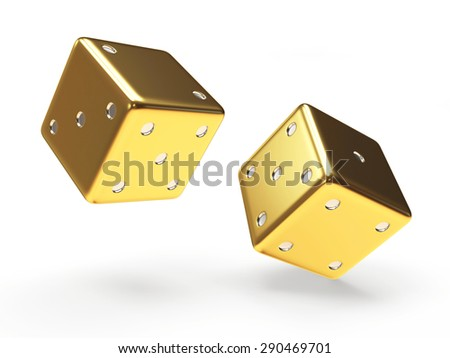 Golden dice cubes isolated on white background - stock photo