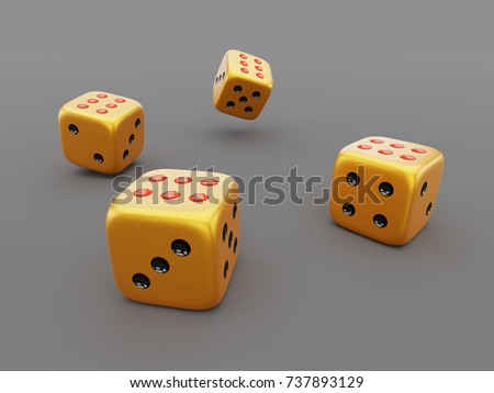 Golden dice on gray table 3D illustration