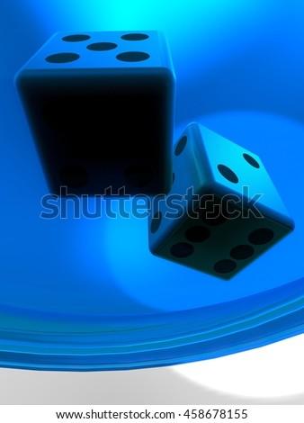 Golden dice on plate 3d illustration - stock photo